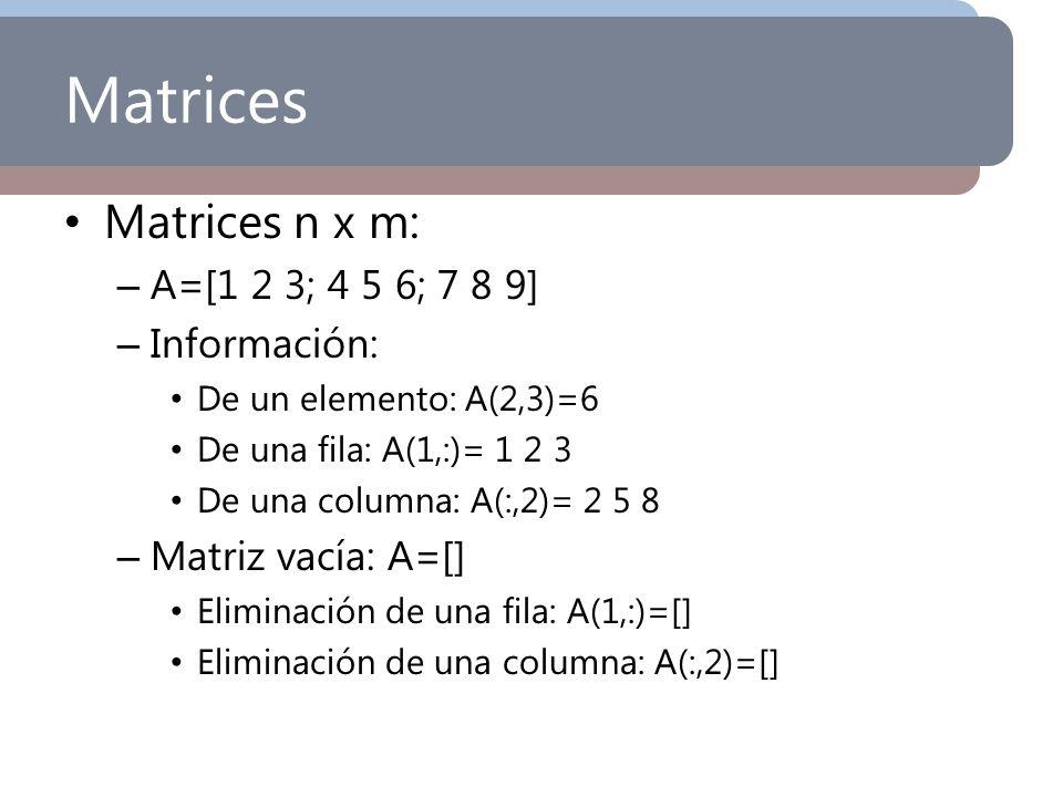 Matrices Matrices n x m: A=[1 2 3; 4 5 6; 7 8 9] Información: